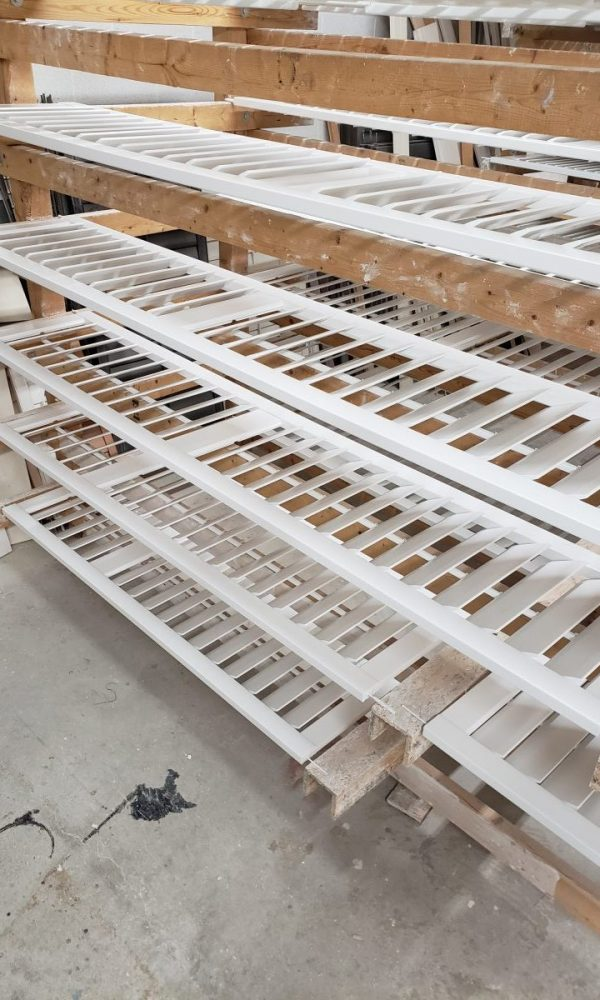 California shutters on our paint drying rack